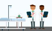 Una ilustración de dos doctores en un consultorio médico, cada uno sosteniendo un portapapeles.