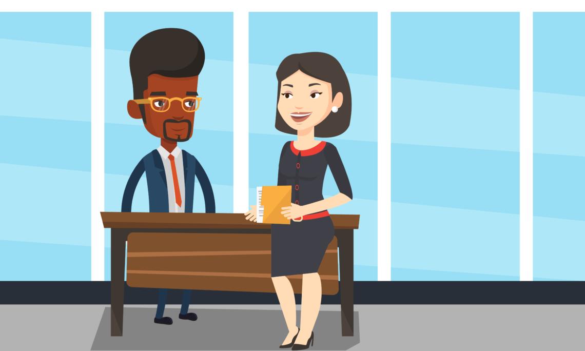 Una caricatura muestra a una mujer conversa con un hombre, quien está parado detrás de un escritorio.