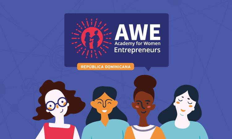 The name and logo of the Academy for Women Entrepreneurs, and an illustration of four women