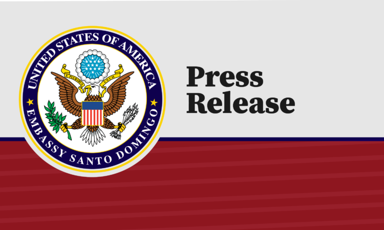 "The Department of State logo, on a gray and red background, with the words ""press release."""