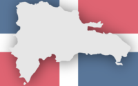 An illustration of the Dominican Republic's territory with the Dominican flag behind it.