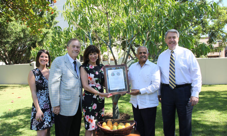 A group of men and women stand in front of a tree. A woman and a man at the center hold a certificate. In front of them there is a table with a basket of mangoes on it.