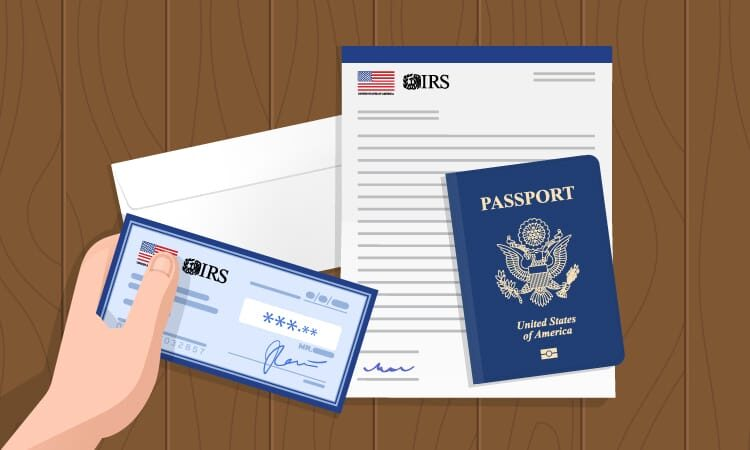 A check, a passport and a letter. The check and the letter have the IRS logo and US flag on them.