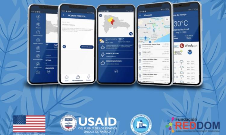 varios celulares mostrando la aplicación AlertaCOE y un fondo azul