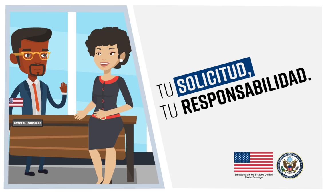 """Una mujer de pie frente a un oficial consular, quien está detrás de un escritorio. A la derecha, la imagen dice """"tu solicitud, tu responsabilidad"""""""