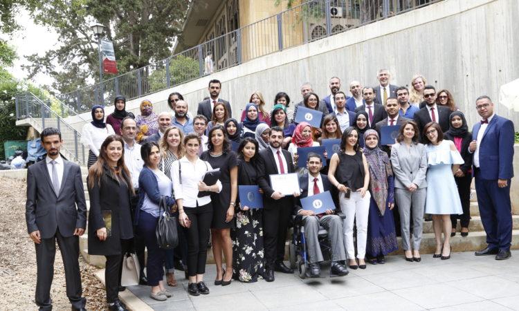 في الصورة عدد من خريجي برنامج رواد الديموقراطية لمبادرة الشراكة الأمريكية الشرق أوسطية في لبنان خلال تخرجهم في 2017