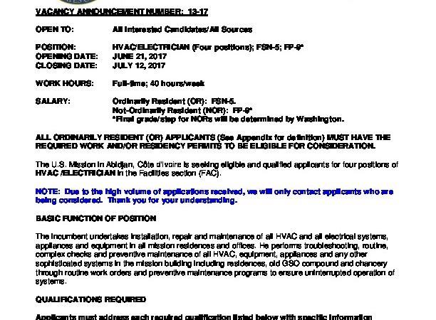 VACANCY ANNOUNCEMENT Archives | U S  Embassy in Cote d'Ivoire