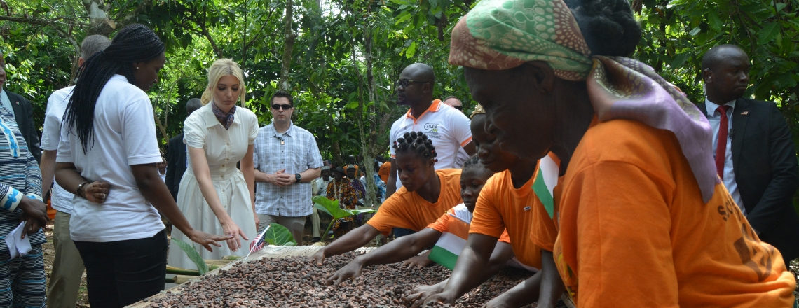 Senior Advisor Ivanka Trump meets female cocoa farmers in Adzope, Cote d'Ivoire