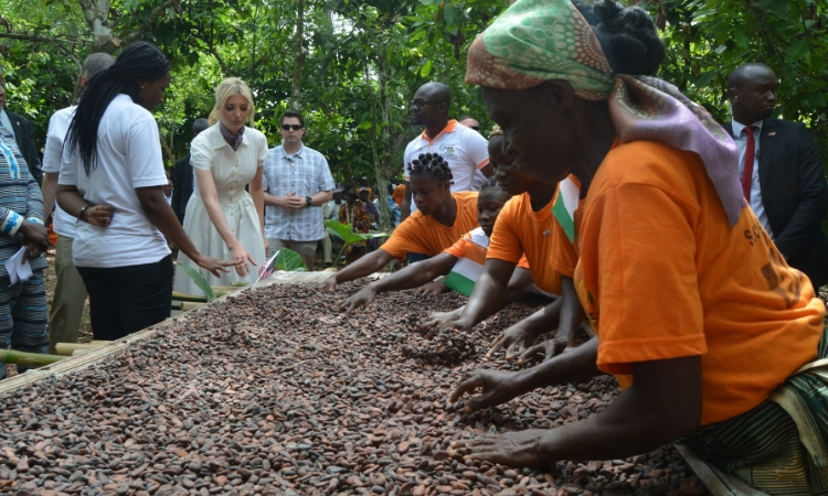 Advisor to the President Ivanka Trump and USAID Administrator Mark Green met female cocoa farmers and entrepreneurs at a cocoa farm in Adzope, Côte d'Ivoire.