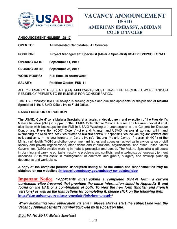 VA No28-17_PMI Malaria Specialist_Sept_2017 | U S  Embassy