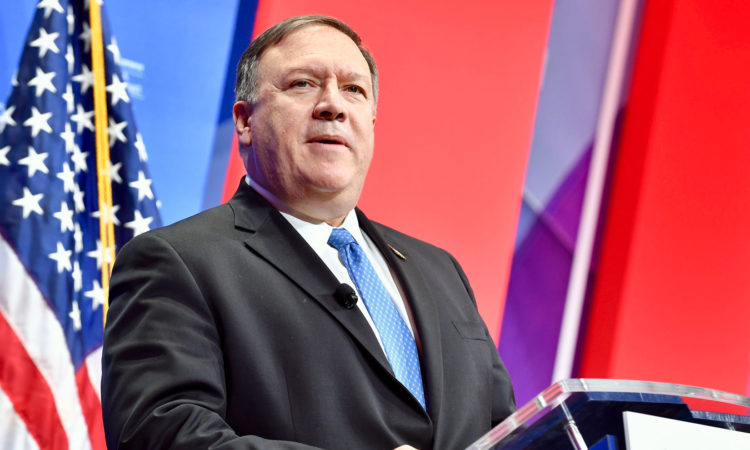 United States Secretary of State Mike Pompeo at the Podium