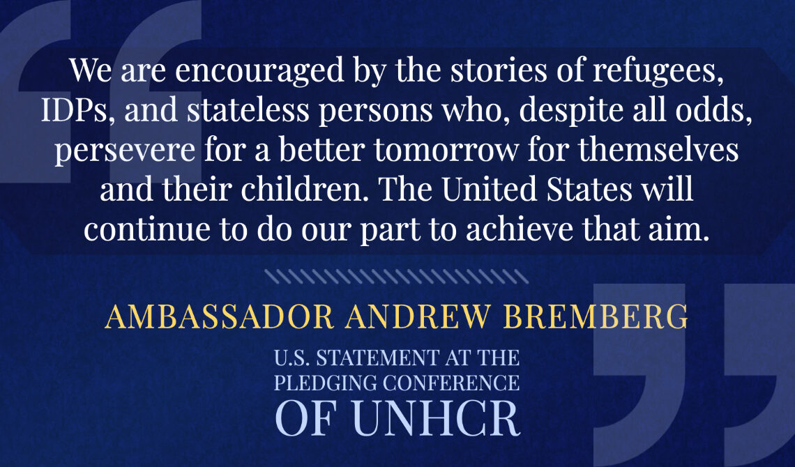 Ambassador Andrew Bremberg at the Pledging Conference of UNHCR