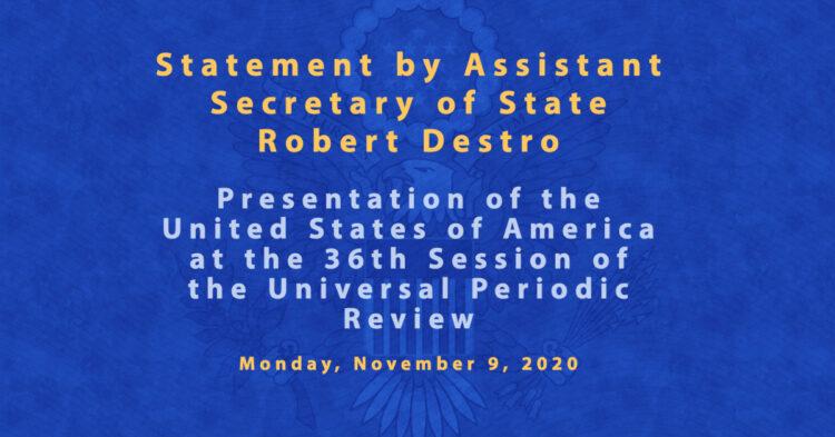 Statement by Robert Destro