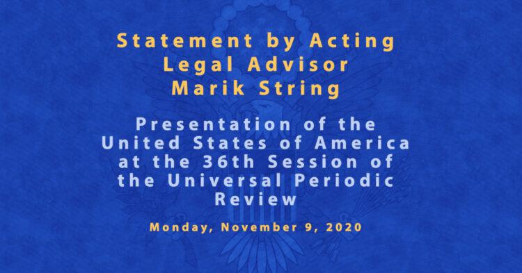 Statement by Marik String