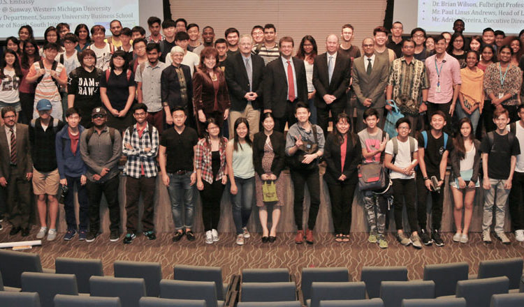 Chargé Edgard Kagan, panel participants, and Sunway University faculty and students pose for a group photo after a discussion on the legacy of Dr. Martin Luther King Jr. and civil rights in America and Malaysia. (U.S. Embassy photo)