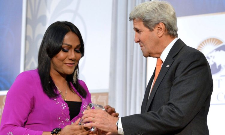 U.S. Secretary of State John Kerry presents the 2016 International Women of Courage Award to Nisha Ayub of Malaysia, Transgender Rights Advocate, at the U.S. Department of State in Washington, D.C., March 29, 2016 (State Department photo)