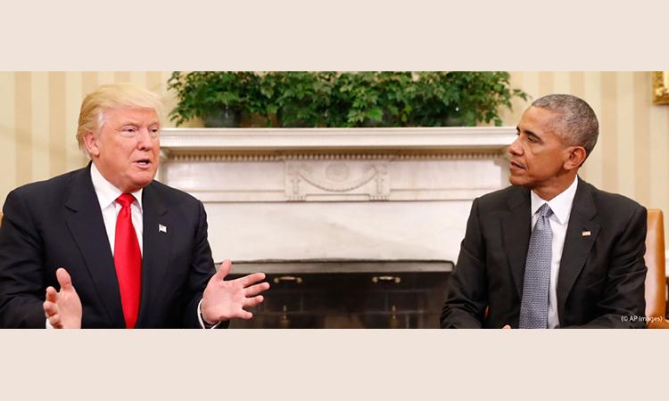 Presiden Barack Obama bertemu dengan bakal Presiden Donald Trump di Rumah Putih. (Foto AP)