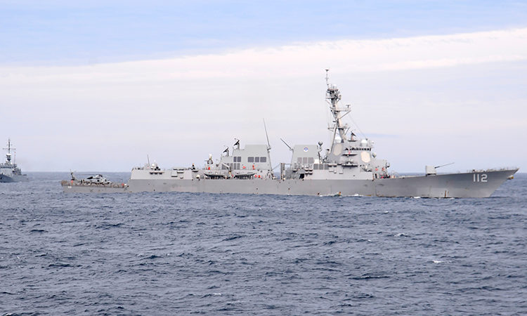 The Arleigh Burke-class guided-missile destroyer USS Michael Murphy (DDG 112) participates in sea exercises during UNITAS LX. UNITAS
