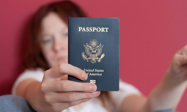 A person holding a U.S. passport