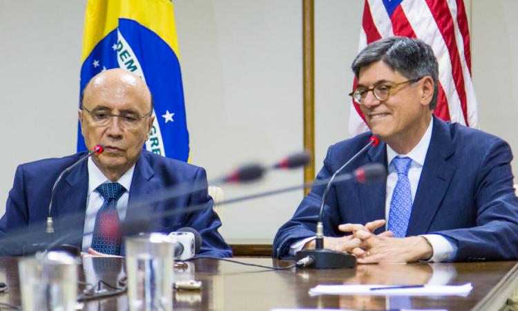 Ministro da Fazenda Meirelles e Secretário do Tesouro Lew, Foto: Embaixada dos EUA Brasilia