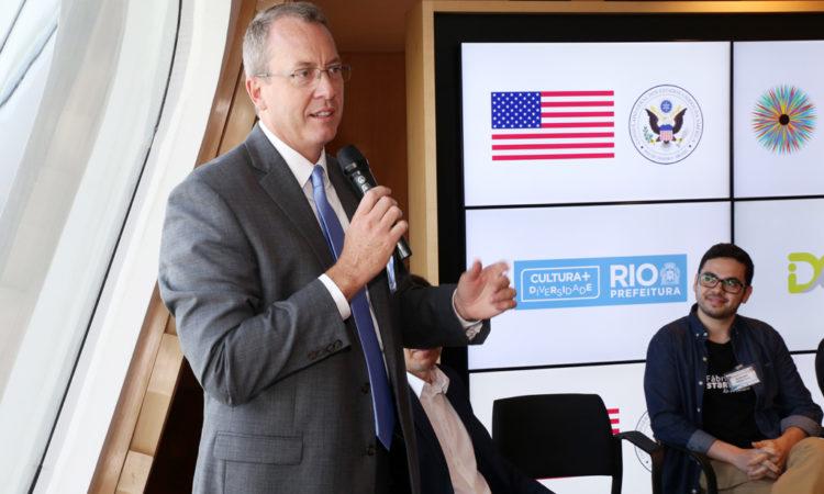 Cônsul Geral James Story abre o evento Start-up e Inovação, realizado no Museu do Amanhã, in Rio de Janeiro.