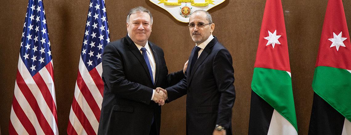 وزير الخارجية مايكل بومبيو ووزير الخارجية الأردني أيمن الصفدي في مؤتمر الصحافيين