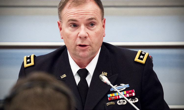 Lieutenant General Ben Hodges, Commander, U.S. Army in Europe, delivers remarks at the OSCE High-Level Military Doctrine Seminar in Vienna, Austria, Feb. 16, 2016. (USOSCE/Colin Peters)