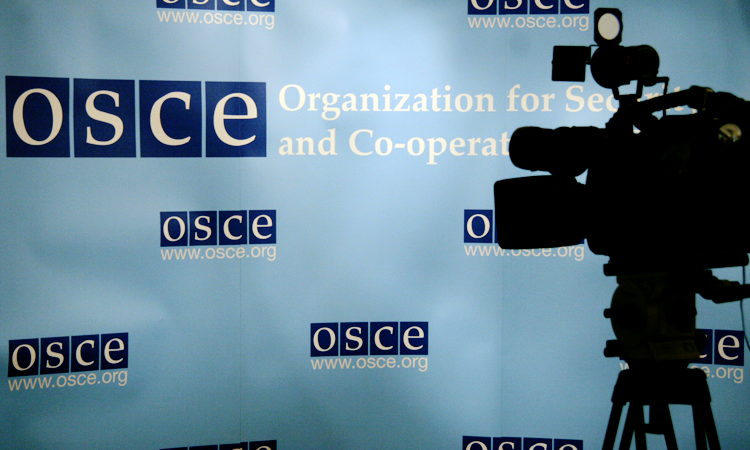 A TV camera positioned in front of a backdrop with OSCE logos prior to a news conference at the Hofburg in Vienna. (OSCE, Mikhail Evstafiev)