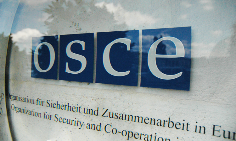 OSCE emblem at the entrance to the Hofburg Congress Center, Vienna. (USOSCE/Colin Peters)