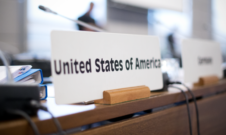 United States nameplate in the Hofburg Congress Center's Neuer Saal, the location of many OSCE Permanent Council Meetings, Vienna, March 9, 2016. (USOSCE/Colin Peters)