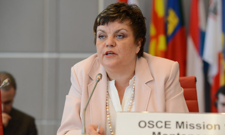 OSCE Mission to Montenegro Head, Ambassador Janina Hrebickova during a Permanent Council meeting, Vienna, March 19, 2015. (OSCE/Micky Kroell)