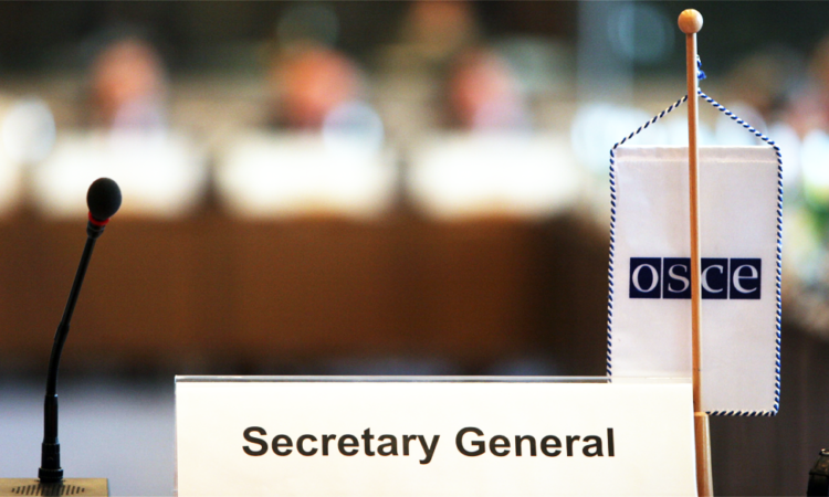 Secretary General nameplate at the Hofburg Congress Center in Vienna, Austria. (USOSCE/Colin Peters)