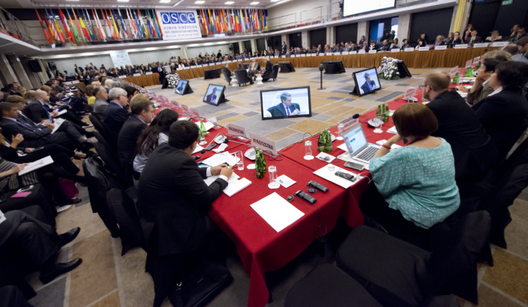 Opening session of the OSCE Human Dimension Implementation Meeting 2016, Sept. 19, Warsaw, Poland. (USOSCE/Colin Peters)