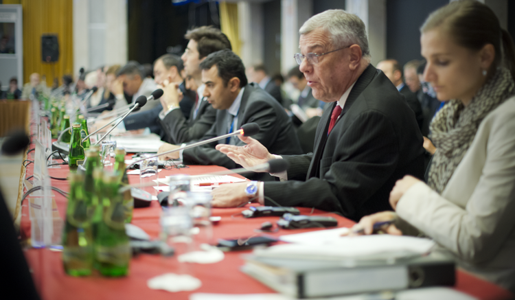 Ambassador Michael Kozak, Head of the U.S. Delegation to the OSCE Human Dimension Meeting 2016, delivering a statement in a plenary session, Warsaw, Poland, Sept. 21, 2016. (USOSCE/Colin Peters)