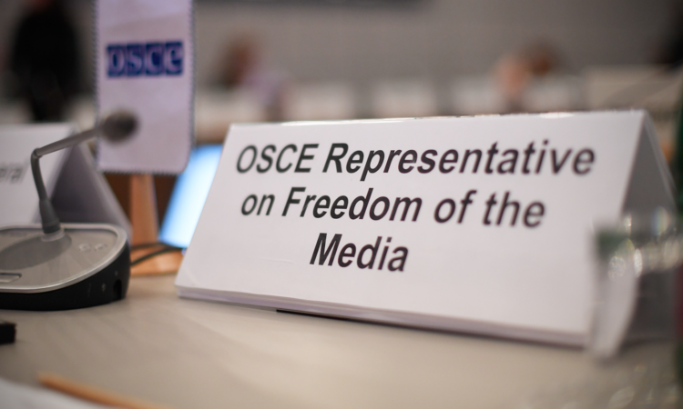 OSCE Representative on Freedom of the Media nameplate at the OSCE Permanent Council, Dec. 1, 2016. (USOSCE/Colin Peters)