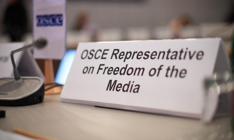 Табличка представителя ОБСЕ по вопросам свободы СМИ в конгресс-центре Хофбург (USOSCE/Colin Peters)