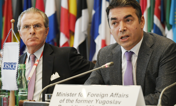 Macedonia's Minister for Foreign Affairs, Nikola Dimitrov, addressing the OSCE Permanent Council on October 12, 2017, Vienna, Austria. (USOSCE/Colin Peters)