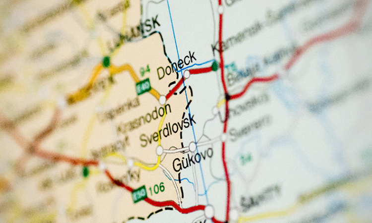 Donetsk and Gukovo on the Russian-Ukrainian border.