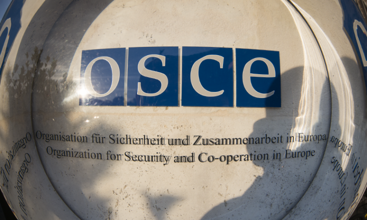 OSCE sign at the entrance to the Hofburg Congress Center, Vienna, Austria, October 13, 2017. (USOSCE/Colin Peters)