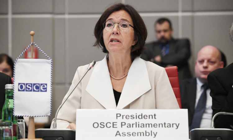 President of the OSCE Parliamentary Assembly, Christine Muttonen, addressing the OSCE Permanent Council, Vienna, Austria, October 19, 2017. (USOSCE/Colin Peters)