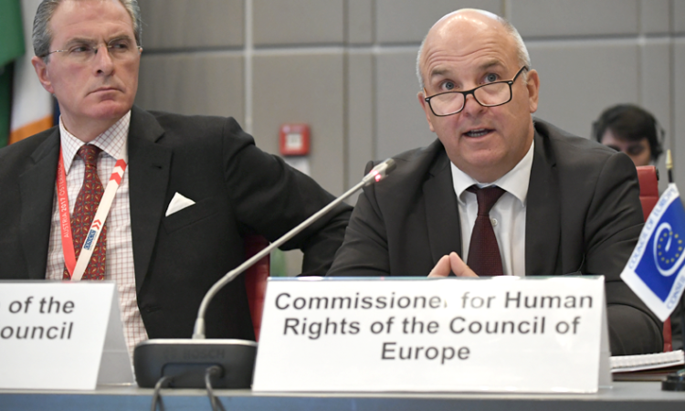 The Council of Europe's Commissioner for Human Rights, Nils Muiznieks, addressing the OSCE Permanent Council, Vienna, Austria, November 16, 2017. (USOSCE/Colin Peters)