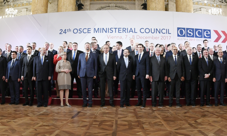 Family photo at the meeting of the 2017 OSCE Ministerial Council, December 7, 2017, Vienna, Austria. (USOSCE/Colin Peters)
