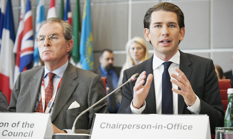 Austria's Foreign Minister and current OSCE Chairperson-in-Office Sebastian Kurz at a special session of the OSCE Permanent Council on countering violent extremism, Vienna, Austria, September 29, 2017. (USOSCE/Colin Peters)
