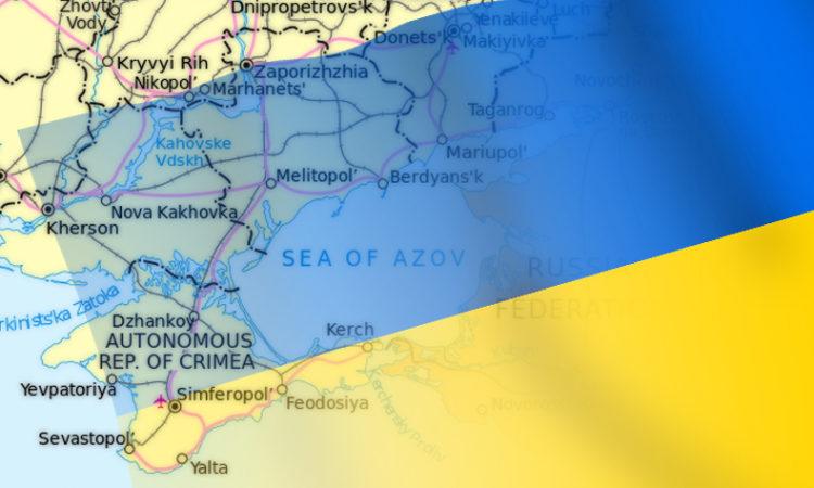 Украинский флаг и карта Украины