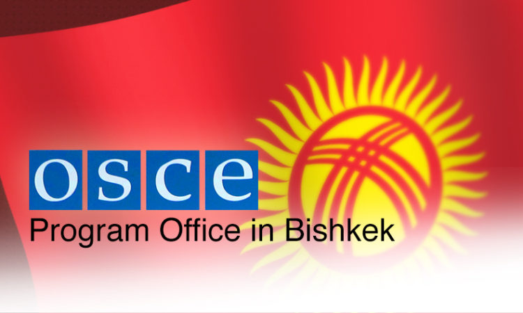 OSCE logo over Kyrgyz flag with text