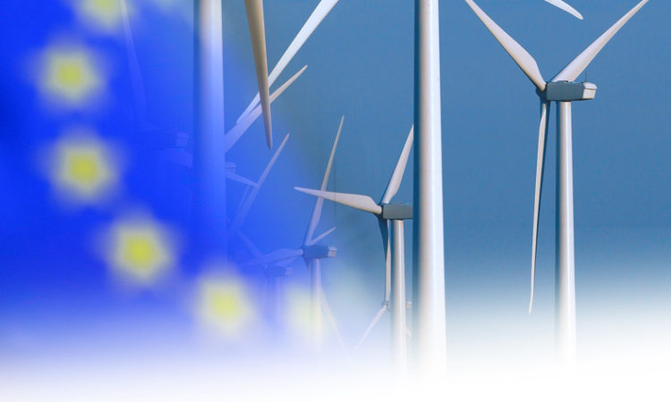 EU flag over renewable energy. (AP Photos)
