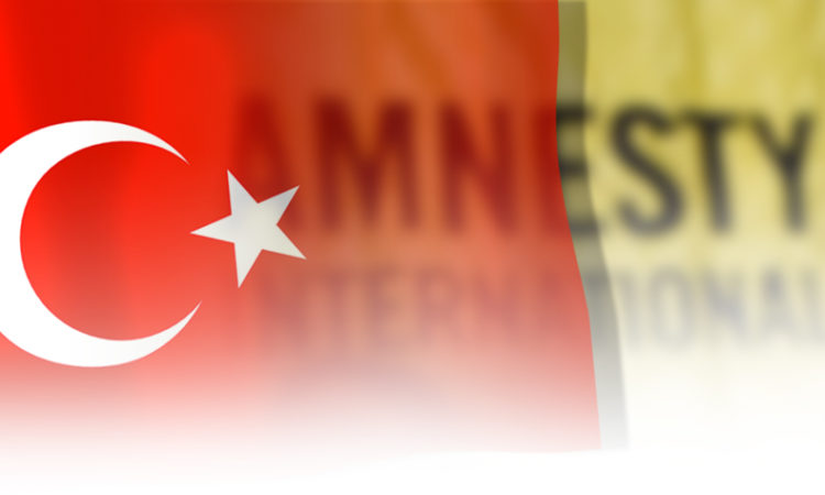 Turkish Flag over Amnesty International photo