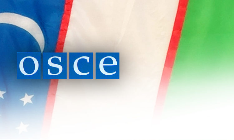 Uzbek Flag and OSCE logo