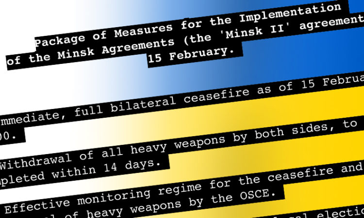 Package of Measures graphic over Ukraine flag