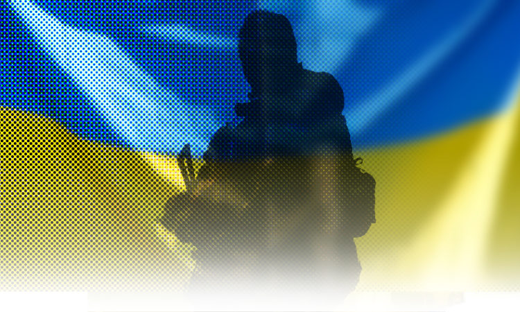 Ukrainian Flag with silhouette of UA soldier